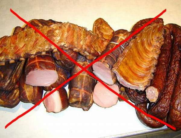 Во время диеты нельзя употреблять копчености