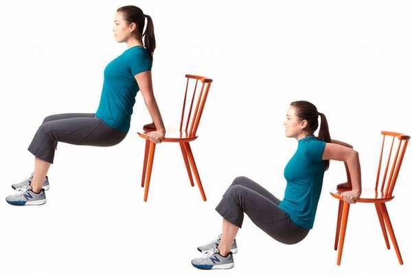 упражнение для рук со стулом