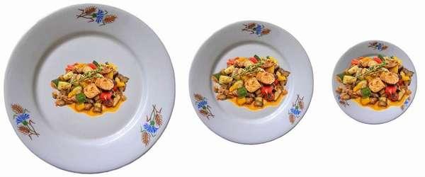 Чтобы не переедать, применяется для еды небольшая посуда
